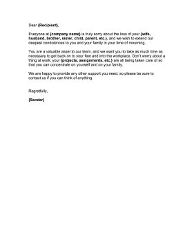 letter of condolence from employer